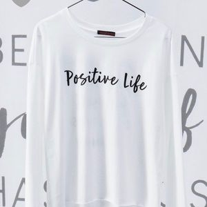 White Long Sleeve Graphic Crop Top